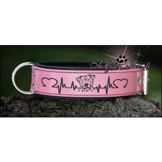 """5cm breites Lederhalsband in rosa / schwarz mit Herzlinie """" Pitbull """" verstellbar von 47 cm  - 55 cm"""