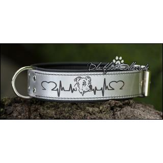 """5cm breites Lederhalsband in silber / schwarz mit Herzlinie """" American Staffordshire Terrier """" verstellbar von 47cm - 58cm"""