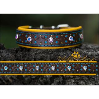 2,5cm breites Lederhalsband in chocolate / gelb verstellbar von 24,5cm - 31cm