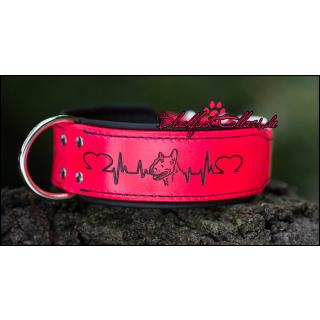 """5cm breites Lederhalsband in neonpink / schwarz mit """" Bullterrierherzlinie"""" 35cm - 43cm"""